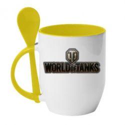 Кружка с керамической ложкой World Of Tanks Logo - FatLine