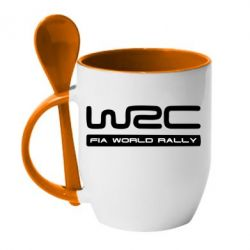 Кружка с керамической ложкой WRC - FatLine
