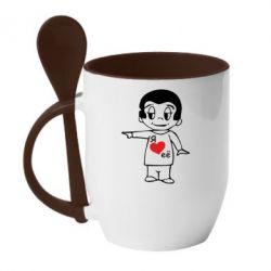 Кружка з керамічною ложкою Я люблю її - FatLine