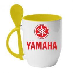 Кружка с керамической ложкой Yamaha Logo(R+W) - FatLine