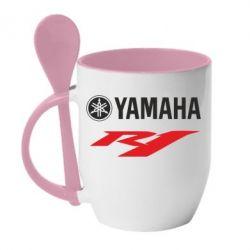Кружка с керамической ложкой Yamaha R1 - FatLine