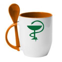 Кружка с керамической ложкой Здравоохранение - FatLine
