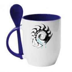 Кружка с керамической ложкой Zerg Symbol - FatLine