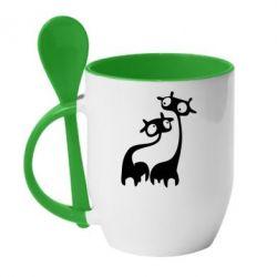 Кружка с керамической ложкой Жирафы - FatLine