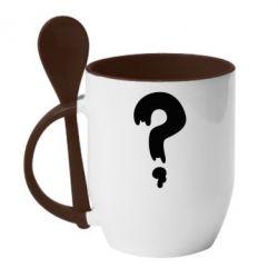 Кружка с керамической ложкой Знак Вопроса - FatLine