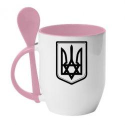 Кружка с керамической ложкой Звезда Давида+герб - FatLine