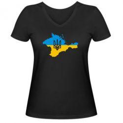 Женская футболка с V-образным вырезом Крым это Украина - FatLine