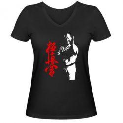 Женская футболка с V-образным вырезом Kyokushin Kanku Master