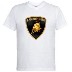 Мужская футболка  с V-образным вырезом Lamborghini Logo