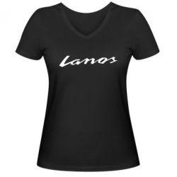 Женская футболка с V-образным вырезом Lanos Logo - FatLine