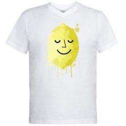 Мужская футболка  с V-образным вырезом Лимон, Lemon