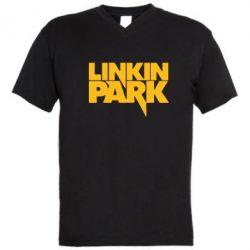 Мужская футболка  с V-образным вырезом Линкин Парк - FatLine