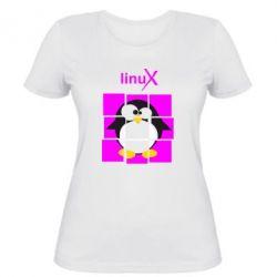 Женская футболка Linux pinguine - FatLine