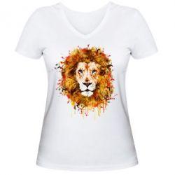 Женская футболка с V-образным вырезом Lion Art - FatLine