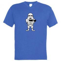 Мужская футболка  с V-образным вырезом Little Stormtrooper - FatLine