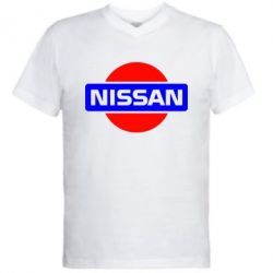 Мужская футболка  с V-образным вырезом Logo Nissan - FatLine