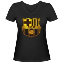 Женская футболка с V-образным вырезом Логотип Барселоны - FatLine