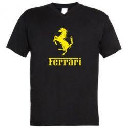 Мужская футболка  с V-образным вырезом логотип Ferrari - FatLine