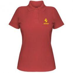 Женская футболка поло логотип Ferrari - FatLine