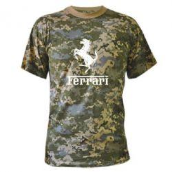 Камуфляжная футболка логотип Ferrari - FatLine