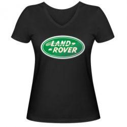 Женская футболка с V-образным вырезом Логотип Land Rover - FatLine