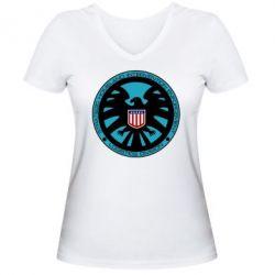 Женская футболка с V-образным вырезом Логотип Щита - FatLine