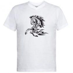 Мужская футболка  с V-образным вырезом Лошадь - FatLine
