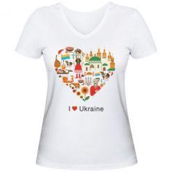 Женская футболка с V-образным вырезом Love Ukraine Hurt