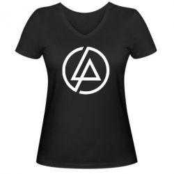 Женская футболка с V-образным вырезом LP logo - FatLine