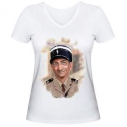 Женская футболка с V-образным вырезом Луи де Фюнес