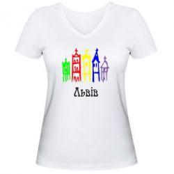 Женская футболка с V-образным вырезом Львів - FatLine