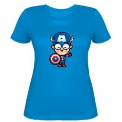 Женская футболка Маленький Капитан Америка - FatLine