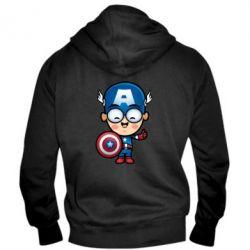 Мужская толстовка на молнии Маленький Капитан Америка - FatLine