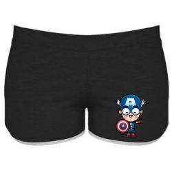Женские шорты Маленький Капитан Америка - FatLine