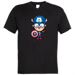 Мужская футболка  с V-образным вырезом Маленький Капитан Америка - FatLine