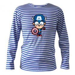Тельняшка с длинным рукавом Маленький Капитан Америка - FatLine