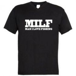 Чоловічі футболки з V-подібним вирізом Man I Love Fishing
