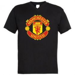 Мужская футболка  с V-образным вырезом Манчестер Юнайтед - FatLine