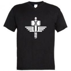 Мужская футболка  с V-образным вырезом Manowar Logo - FatLine
