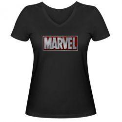Женская футболка с V-образным вырезом Marvel 3D - FatLine