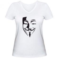 Женская футболка с V-образным вырезом Маска Вендетта - FatLine