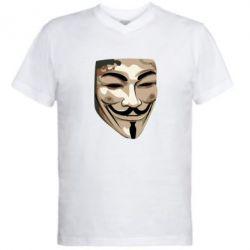 Мужская футболка  с V-образным вырезом Маска Вендетта - FatLine
