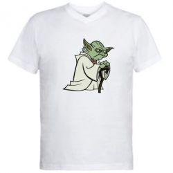 Мужская футболка  с V-образным вырезом Master Yoda - FatLine