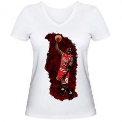 Женская футболка с V-образным вырезом Майкл Джордан - FatLine