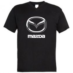 Мужская футболка  с V-образным вырезом Mazda Logo - FatLine