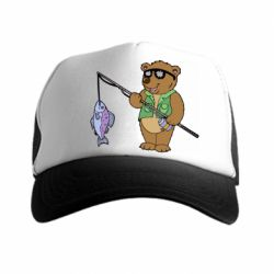 Кепка-тракер Медведь ловит рыбу - FatLine