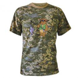 Камуфляжная футболка Медведь ловит рыбу - FatLine