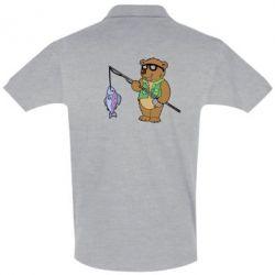 Футболка Поло Медведь ловит рыбу - FatLine