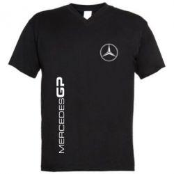 Мужская футболка  с V-образным вырезом Mercedes GP Logo - FatLine