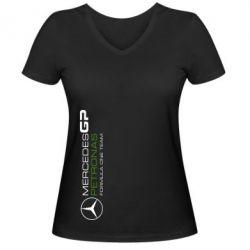 Женская футболка с V-образным вырезом Mercedes GP Vert - FatLine